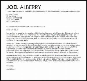 distribution manager cover letter - Gidiye.redformapolitica.co