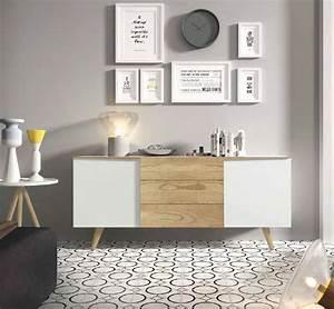 Bahut Bois Blanc : bahut buffet moderne blanc laqu mate et couleur bois sibi ~ Teatrodelosmanantiales.com Idées de Décoration