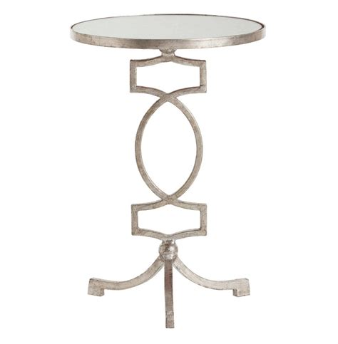 silver leaf end table cooper silver leaf hollywood regency mirror accent side table