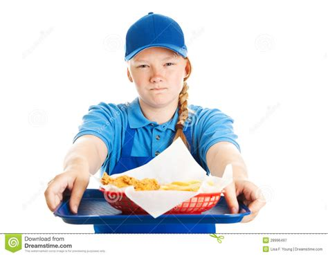 fast food worker rude attitude stock image image