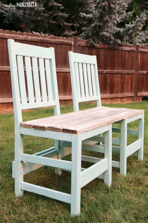 colorful upcycled chair bench   backyard making