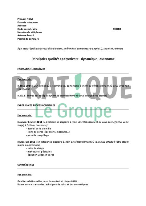 apprentissage en cuisine restauration modele cv brevet professionnel