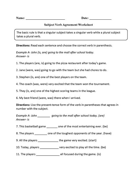 subject verb agreement worksheets 5th grade pdf parts