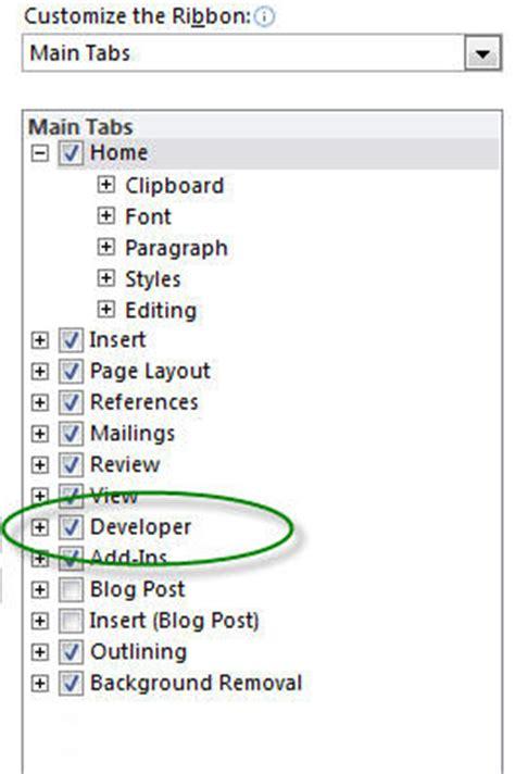 developer tab  microsoft word