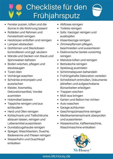 wohnung putzen checkliste checkliste f 252 r den fr 252 hjahrsputz haushalt fr 252 hjahrsputz haushalt und putz