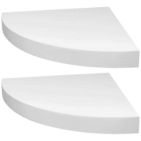 Hartleys Set Of 2 White Corner Wooden Curved Floating Wall