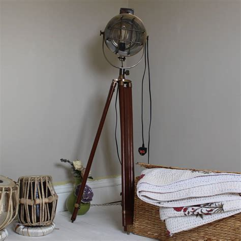 Nautical Searchlight Style Floor Lamp On Tripod By Reason