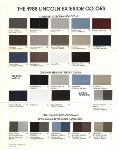 exterior paint color codes the lincoln vii club view topic lincoln exterior paint color codes and brochures