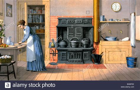 woman working    fashioned kitchen  stock