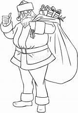 Santa Claus Col Bag Presents Coloring Vector Royalty Illustration sketch template