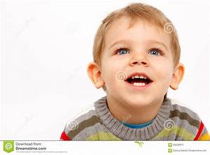 Happy Kid In Winter Clothes Looking Up Stock Photo - Image ...