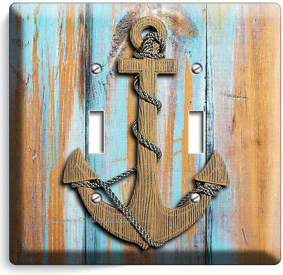 Anchor whale wall art nautical nursery decor canvas art prints navy blue gray boy name personalized children's baby room poster. NAUTICAL ANCHORS DOUBLE LIGHT SWITCH WALL PLATE BOYS BEDROOM NURSERY ROOM DECOR   eBay