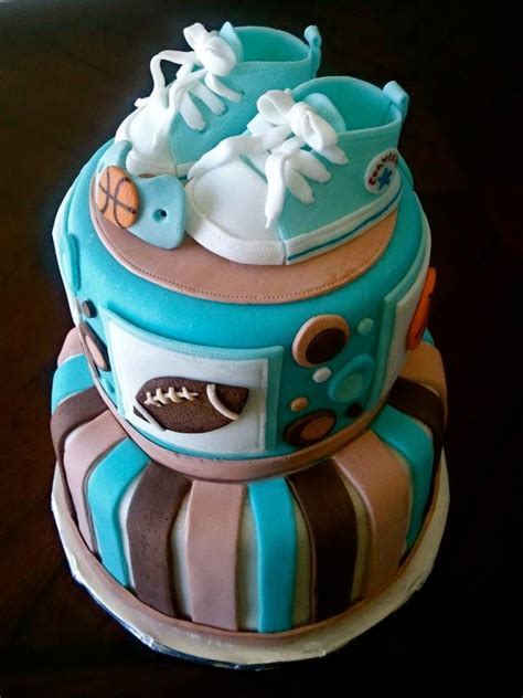 sports theme  converse baby shoes shower cake