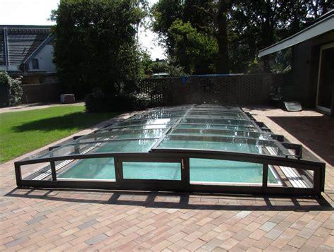 abri de piscine abri de piscine plat bas mi haut r 233 sidentiel adoss 233 coulissant transparent mobile juralu