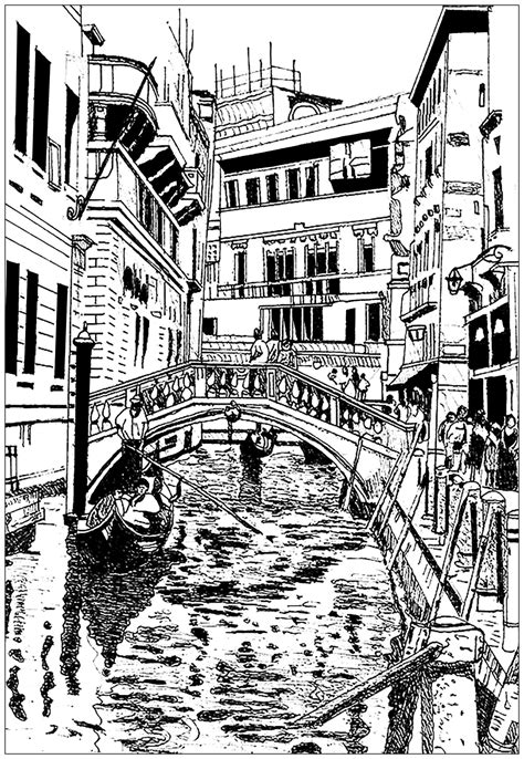 venice drawing architecture adult coloring pages