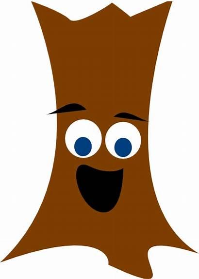 Trunk Tree Clip Clipart Face Cartoon Trees