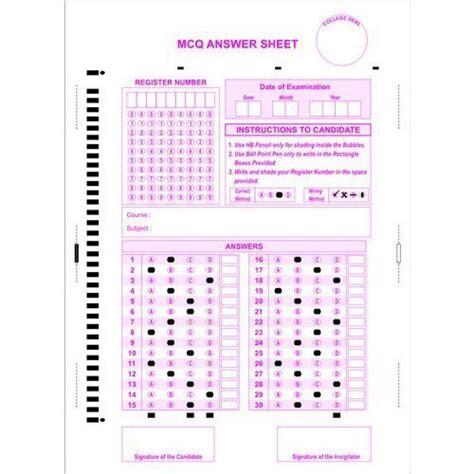Omr Full Form In Hindi by Omr Sheet Computer Stationery Vijaya Forms Chennai