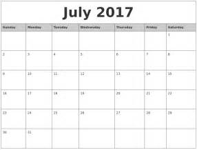 july 2017 monthly calendar printable