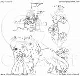 Castle Princess Coloring Outline Pony Clip Royalty Vector Illustration Drawing Pushkin Clipart Getdrawings sketch template