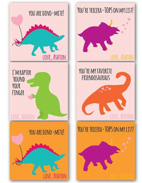 Dinosaur Valentine Day Cards Printables