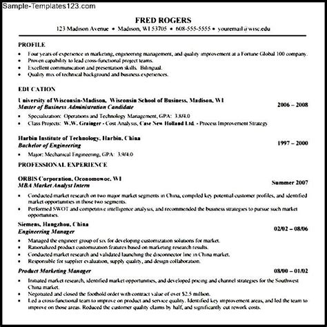 Resume For Mba Admission by Mba Application Resume Template Sle Templates
