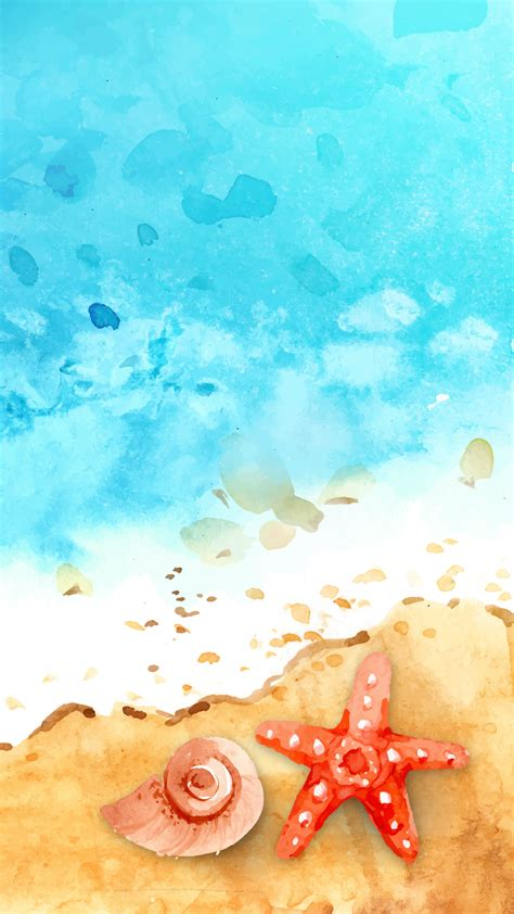 ultra hd watercolor seashore wallpaper   mobile