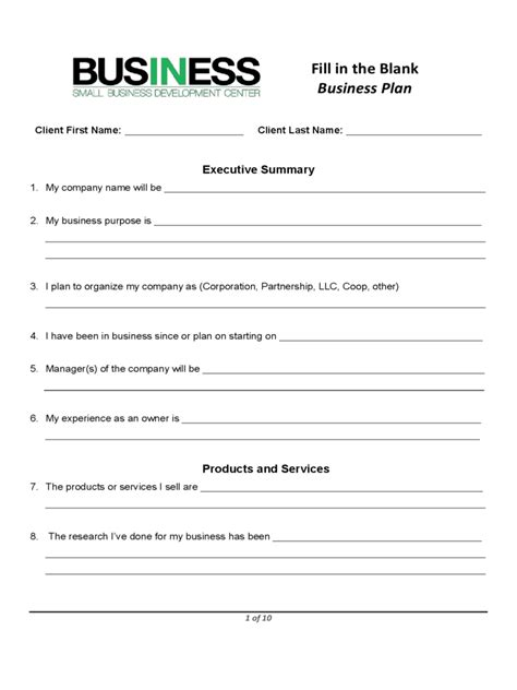 Small Business Association Business Plan Template by Sba Blank Business Plan Form Pdf