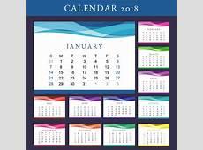 Printable Calendar 2018 Vector Download Free Vector Art