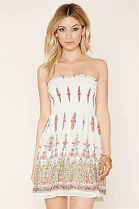 Forever 21 Strapless Floral Mini Dress in White | Lyst