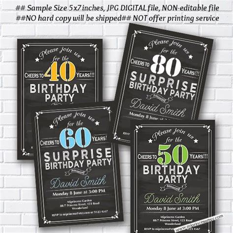 Surprise Birthday Invitation for any age 30th 40th 50th