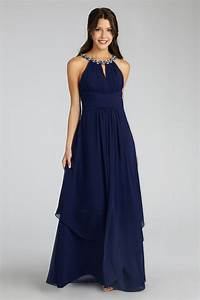 beaded neckline brides maid dresses navy blue long With navy blue long dress for wedding