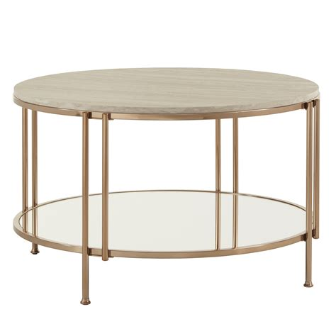 The smaller table (26 diameter) can be stored under the larger. Weston Home Shaelyn Round Gold Cocktail Table with Faux Marble Top and Mirror Shelf - Walmart ...
