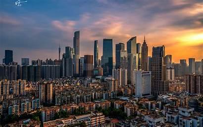 Guangzhou China Pantalla Ciudades Edificios Fondos Ciudad