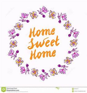 Home Sweet Home Lettering In Wreath Stock Vector