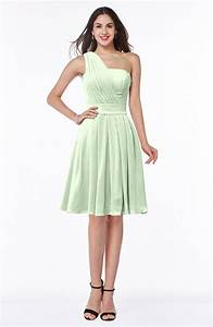 Light Green Simple Sleeveless Zip up Knee Length Ribbon ...