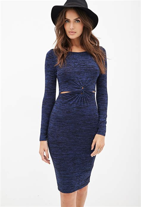 forever 21 sweater dress forever 21 knotted sweater dress in blue lyst