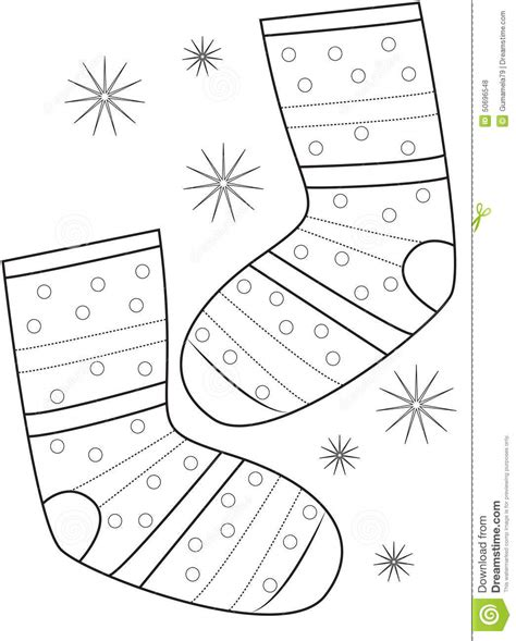 pair  socks coloring page stock illustration image