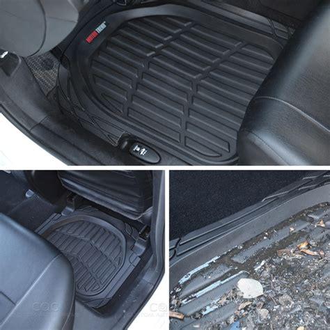 weathertech floor mats smell 4pc all weather floor mats cargo set black tough rubber motortrend deep dish ebay