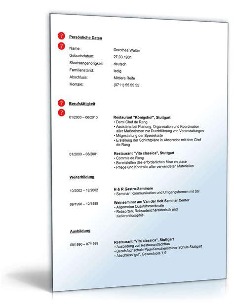 Lebenslauf Gastronomie Muster by Lebenslauf Servicekraft Gastronomie Muster Zum