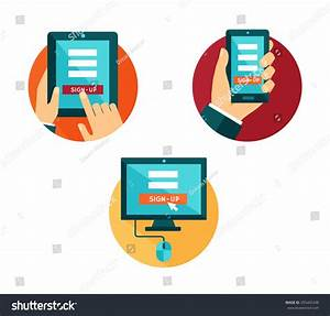 Vector Set Flat Icons Computer Smartphone Stock Vector ...