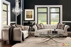 Antoinette crystal button tufted transitional sofa set for Tufted living room furniture