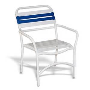 strap patio stackable dining arm chair white
