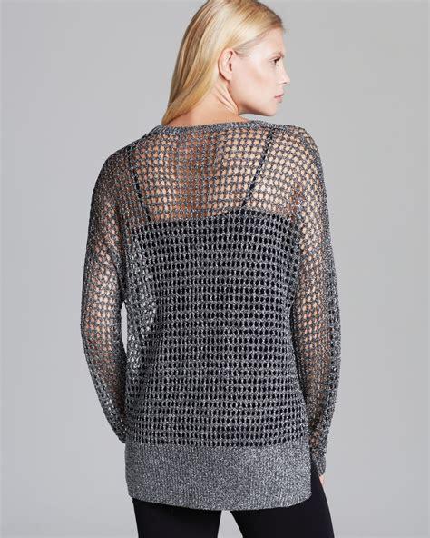 lyst karen kane pullover metallic open knit sweater  metallic