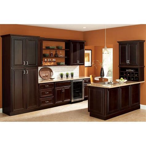 hton bay kitchen cabinets design hton bay 18x84x24 in cambria pantry cabinet in java