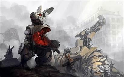 Mech Wallpapers Fantasy Suit Rabbit Wallpapersafari Background
