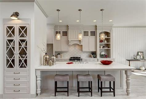gorgeous  bright light gray kitchens table  hearth