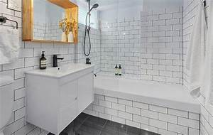 white subway tile black grout bathroomherpowerhustlecom With white bathroom tiles with black grout