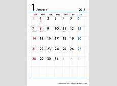 2018(2019)年 シンプル カレンダー 【1ヶ月A4・タテ】 無料ダウンロード・印刷|ちびむすカレンダー
