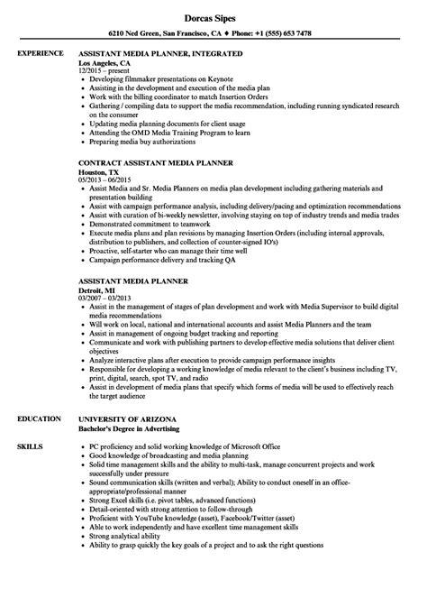 Media Planner Resume by Assistant Media Planner Resume Sles Velvet