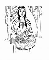 Coloring Indian Pages Harvest Gathering sketch template